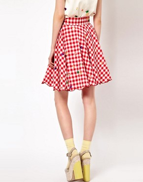 Image 2 ofNishe Gingham Skirt with Fruit Embroidery