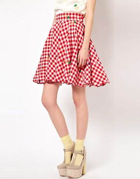 Image 4 ofNishe Gingham Skirt with Fruit Embroidery