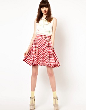 Image 1 ofNishe Gingham Skirt with Fruit Embroidery