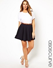 ASOS CURVE Exclusive Tailored Skater Skirt With Belt