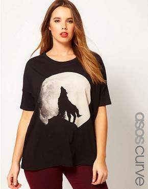 Image 1 ofASOS CURVE Exclusive Howling Wolf Drape Top