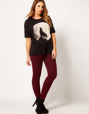 Image 4 ofASOS CURVE Exclusive Howling Wolf Drape Top