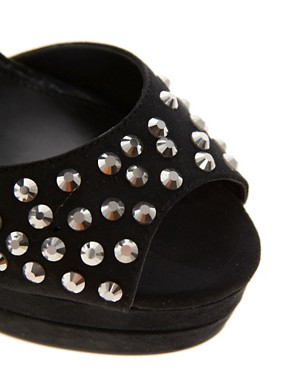 Image 2 ofCarvela Gogo Jewelled Peep Toe Platform Shoes
