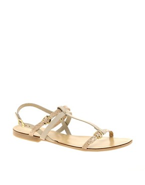 Image 1 ofOasis Snake Print Flat Sandals