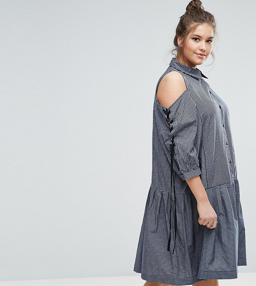 ASOS CURVE Shirt Dress with Tie Sleeve and Drop Waist