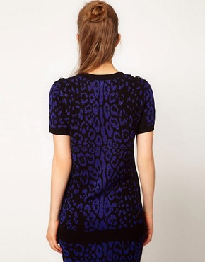 Image 2 ofSibling by Sister Short Sleeve Sweater in Leopard Flower Sequin
