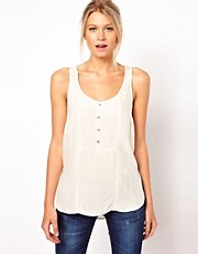 ASOS Vest in Self Stripe Panels