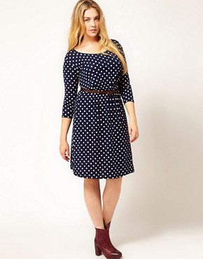 Image 4 ofASOS CURVE Exclusive Spot Skater Dress