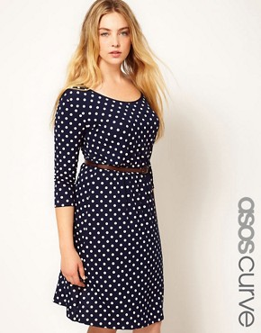 Image 1 ofASOS CURVE Exclusive Spot Skater Dress