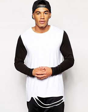 ASOS Longline T-Shirt With Distressed Hem Detail