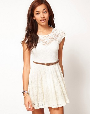 Image 1 ofRiver Island Lace Skater Dress With Cap Sleeve