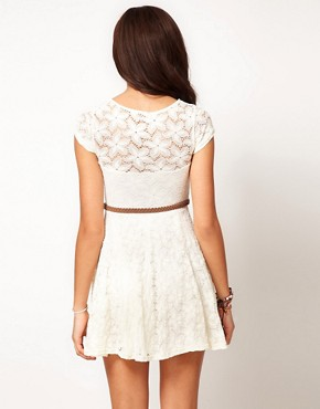 Image 2 ofRiver Island Lace Skater Dress With Cap Sleeve