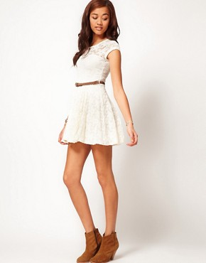 Image 4 ofRiver Island Lace Skater Dress With Cap Sleeve