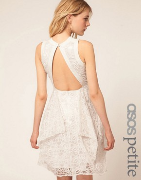 Image 1 ofASOS PETITE Exclusive Embroidered Lace Dress With Cut Out Back Detail