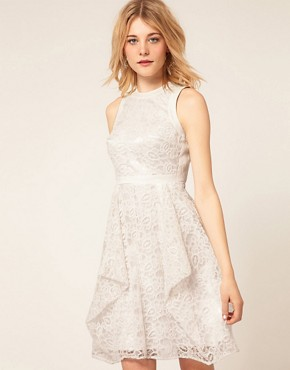Image 2 ofASOS PETITE Exclusive Embroidered Lace Dress With Cut Out Back Detail