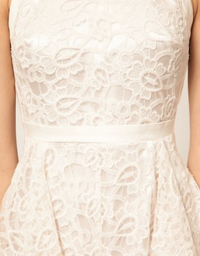 Image 3 ofASOS PETITE Exclusive Embroidered Lace Dress With Cut Out Back Detail