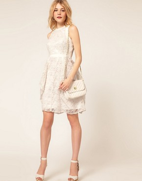 Image 4 ofASOS PETITE Exclusive Embroidered Lace Dress With Cut Out Back Detail