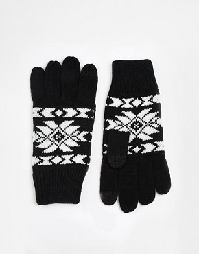 ASOS Touchscreen Gloves with Aztec Design