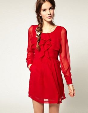 Image 1 ofPepe Jeans Ruffle Front Dress