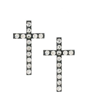 Image 1 ofASOS Stone Cross Stud Earrings