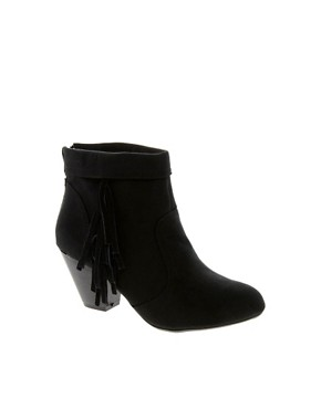 Image 1 ofNew Look Fringey Western Heeled Ankle Boots