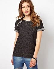 By Zoe Melange Sweat Top with Short Sleeves