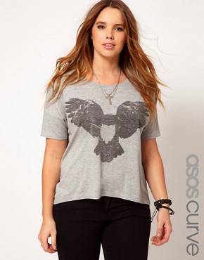 Image 1 ofASOS CURVE Flying Owl Drape Top
