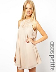 ASOS PETITE Swing Dress With Lace Insert And Peter Pan Collar