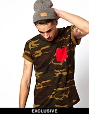 Reclaimed Vintage Camo T-Shirt with Contrast Pocket