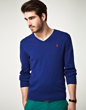 Image 1 ofPolo Ralph Lauren Slim Fit Pima Cotton V Neck Jumper