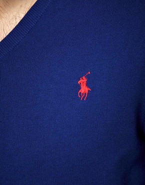 Image 3 ofPolo Ralph Lauren Slim Fit Pima Cotton V Neck Jumper
