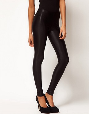 Image 4 ofASOS Leggings in Textured Wetlook Print