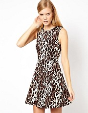 Karen Millen Skater Dress in Leopard Print