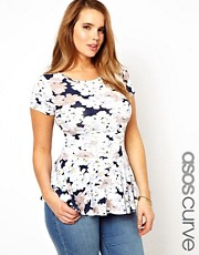 ASOS CURVE Exclusive Peplum Top In Pansy Print