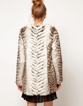 Image 2 ofA Wear Collarless Longline Faux Fur Coat