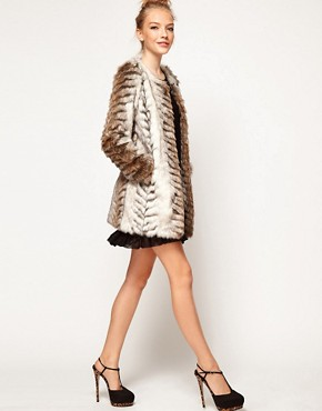 Image 4 ofA Wear Collarless Longline Faux Fur Coat