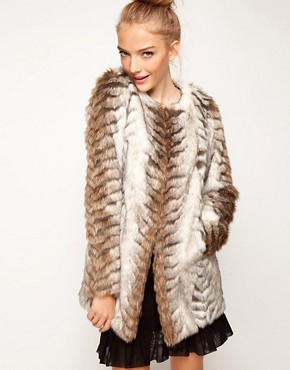 Image 1 ofA Wear Collarless Longline Faux Fur Coat