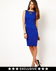 Vesper Wrap Peplum Pencil Dress