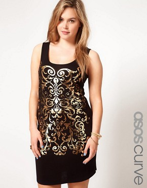 Image 1 ofASOS CURVE Exclusive Vest Dress With Gold Foil Print