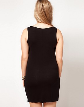 Image 2 ofASOS CURVE Exclusive Vest Dress With Gold Foil Print