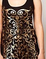 Image 3 ofASOS CURVE Exclusive Vest Dress With Gold Foil Print