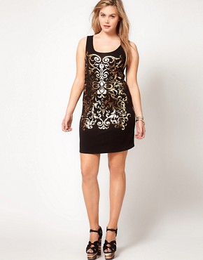 Image 4 ofASOS CURVE Exclusive Vest Dress With Gold Foil Print