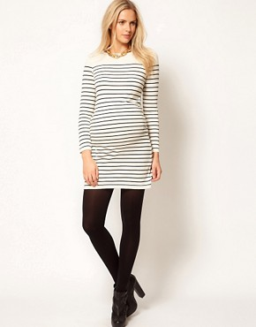 Image 4 ofASOS Maternity Exclusive Knitted Dress In Breton Stripe
