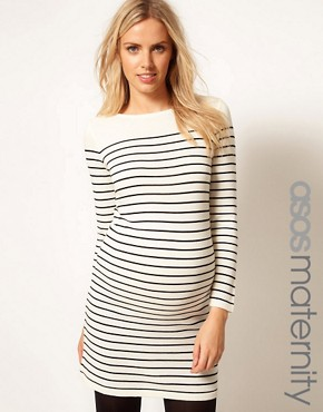 Image 1 ofASOS Maternity Exclusive Knitted Dress In Breton Stripe