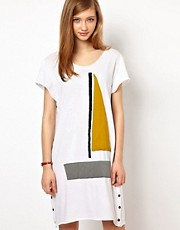 Les Prairies De Paris Sailboat T-Shirt Dress with Popper Details