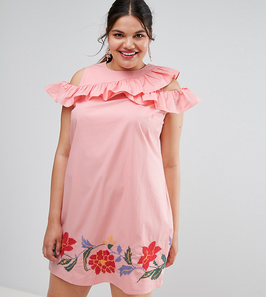 ASOS CURVE Shift Dress with Frill Sleeve & Embroidery