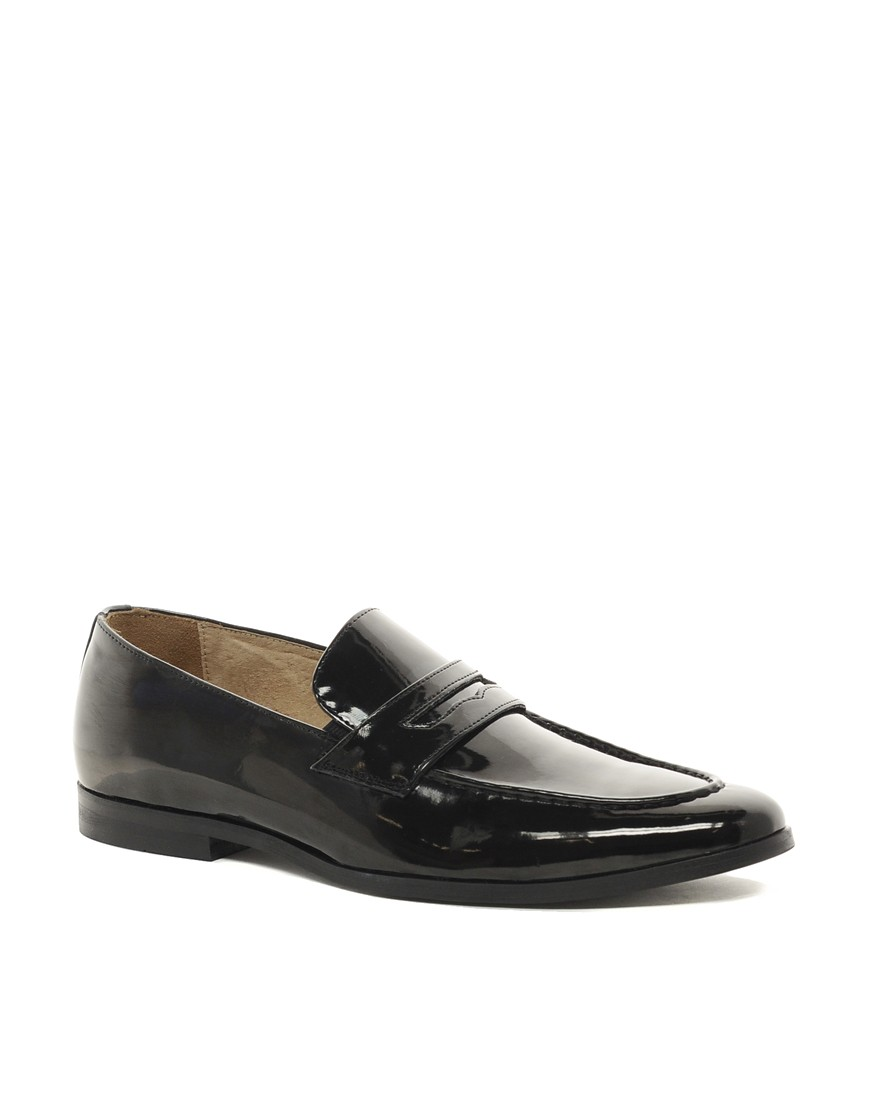 Image 1 of ASOS Penny Loafers in Black Patent