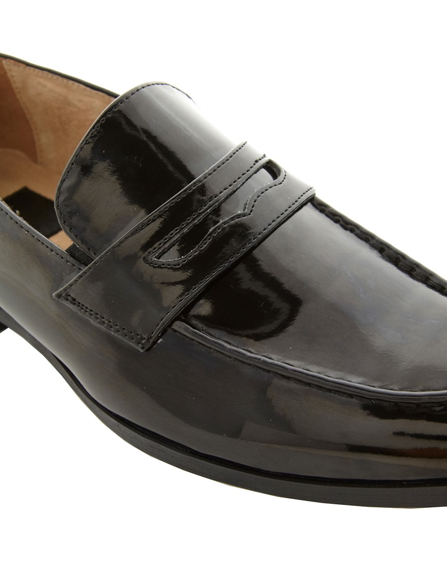 Image 2 of ASOS Penny Loafers in Black Patent