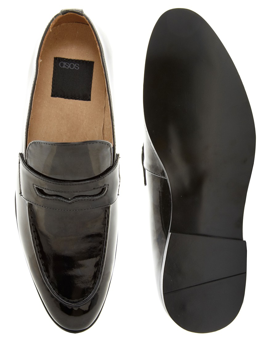 Image 3 of ASOS Penny Loafers in Black Patent