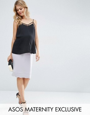 ASOS Maternity Midi Skirt with Scallop Hem in Grey